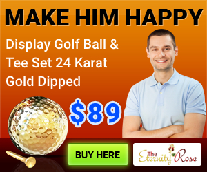 Gold dipped golf ball for Valentine's Day for him