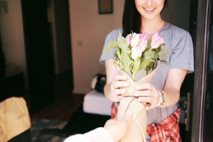 girl recieves bouquet